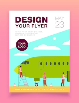 Modelo de folheto de serviço de avião