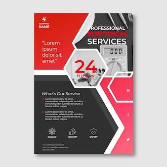 Modelo de folheto de serviços elétricos com foto