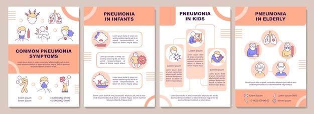 Modelo de folheto de sintomas comuns de pneumonia. grupos de idade em risco. folheto, folheto, impressão de folheto, design da capa com ícones lineares. layouts de vetor para apresentação, relatórios anuais, páginas de anúncios