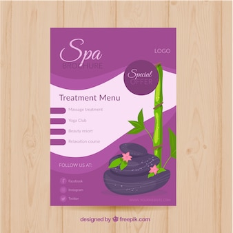 Modelo de folheto de spa com design liso