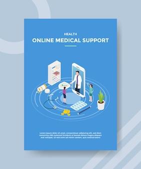 Modelo de folheto de suporte médico online de saúde