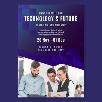 Modelo de folheto de tecnologia e negócios futuros