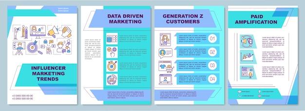 Modelo de folheto de tendências de marketing influenciador