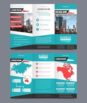 Modelo de folheto de três dobras - projeto de relatório de negócios universal