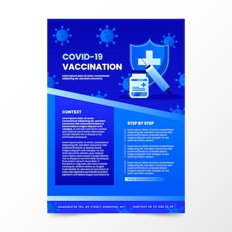 Modelo de folheto de vacinação de coronavírus gradiente