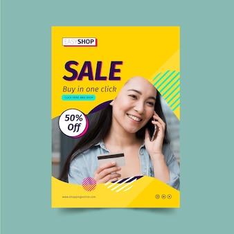 Modelo de folheto de venda com foto