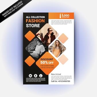 Modelo de folheto de venda com o conceito de moda