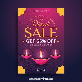 Modelo de folheto de venda de diwali em design plano