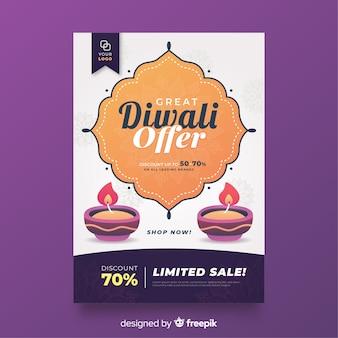 Modelo de folheto de venda de diwali plana e velas