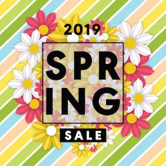 Modelo de folheto de venda de primavera com flores e moldura
