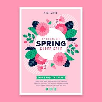 Modelo de folheto de venda de primavera de design plano