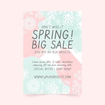 Modelo de folheto de venda de primavera desenhado à mão