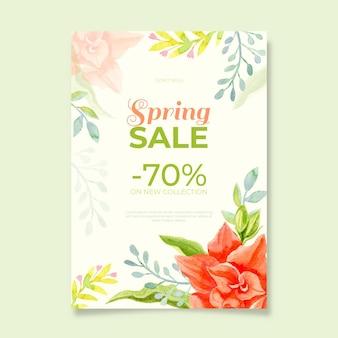 Modelo de folheto de venda de primavera em aquarela