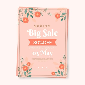 Modelo de folheto de venda de primavera plana com flores