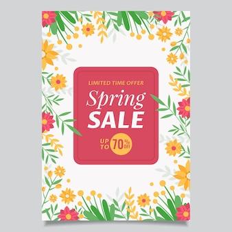 Modelo de folheto de venda de primavera plana Vetor Premium