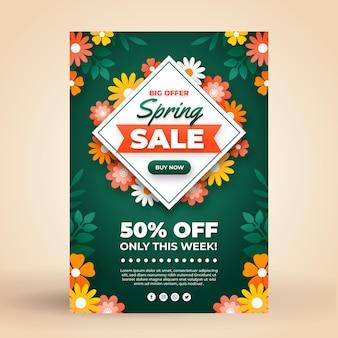Modelo de folheto de venda de primavera plana