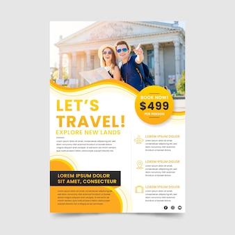 Modelo de folheto de venda de viagens com foto