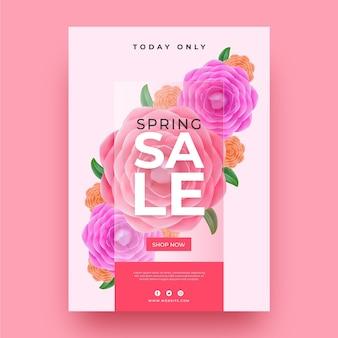 Modelo de folheto de venda floral primavera realista