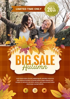 Modelo de folheto de venda outono gradiente com foto