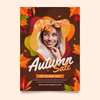 Modelo de folheto de venda outono vertical gradiente com foto