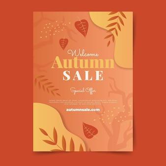 Modelo de folheto de venda outono vertical gradiente