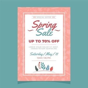 Modelo de folheto de venda primavera floral com design plano
