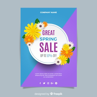 Modelo de folheto de venda realista da primavera