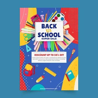 Modelo de folheto de venda vertical de volta às aulas com foto
