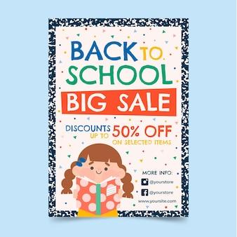 Modelo de folheto de venda vertical de volta às aulas