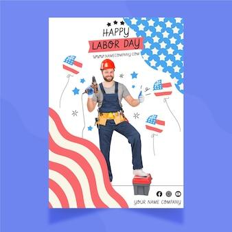 Modelo de folheto de venda vertical desenhado à mão para o dia do trabalho com foto