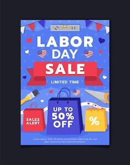 Modelo de folheto de venda vertical para o dia do trabalho