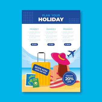 Modelo de folheto de vendas de viagem com ilustrações