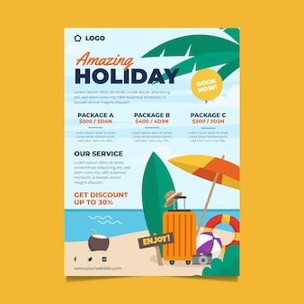Modelo de folheto de vendas de viagem ilustrado