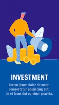 Modelo de folheto de vetor de investimento com copyspace