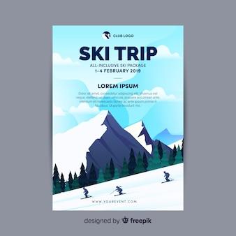 Modelo de folheto de viagem de esqui