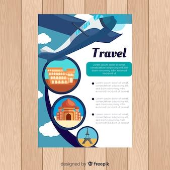 Modelo de folheto de viagem plana