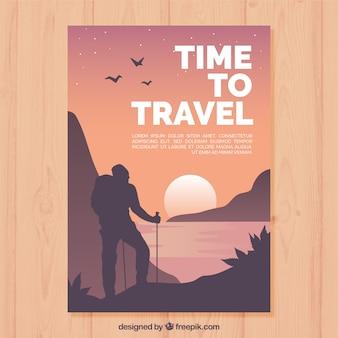 Modelo de folheto de viagens com design plano