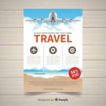 Modelo de folheto de viagens de avião realista