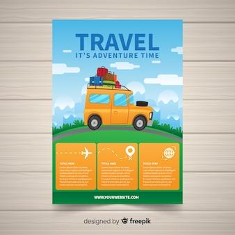 Modelo de folheto de viagens de carro desenhado de mão