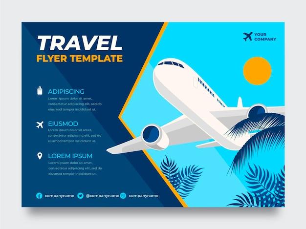 Modelo de folheto de viagens planas com avião