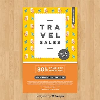 Modelo de folheto de viagens planas e bilhetes