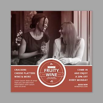 Modelo de folheto de vinho com foto