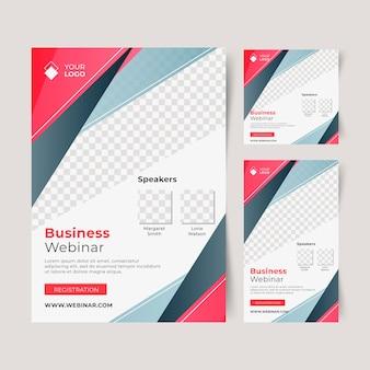 Modelo de folheto de webinar com formas
