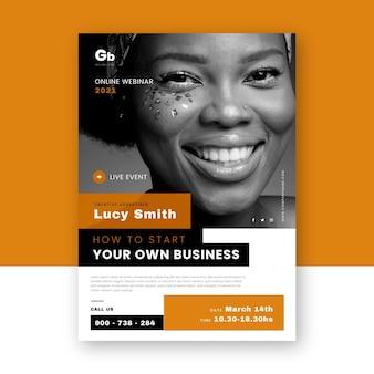 Modelo de folheto de webinar com foto Vetor Premium