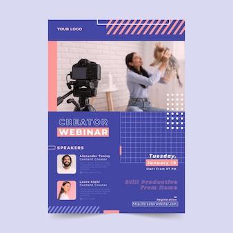 Modelo de folheto de webinar com foto