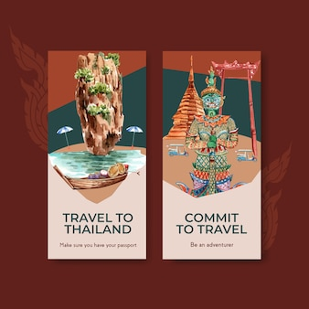 Modelo de folheto definido com viagem para a tailândia para brochura em estilo aquarela