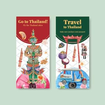 Modelo de folheto definido com viagem para a tailândia para brochura em estilo aquarela Vetor grátis