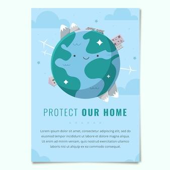 Modelo de folheto desenhado à mão sobre mudança climática