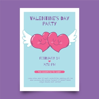 Modelo de folheto dia dos namorados e corações com asas