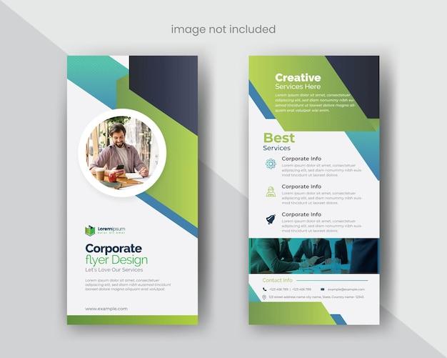 Modelo de folheto dl multiuso com elementos vetoriais azuis e verdes